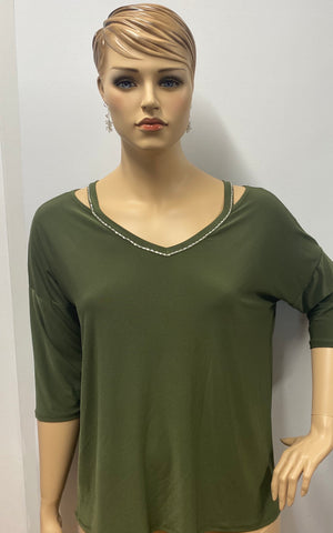 Plus Size Olive Rhinestone Accent 3/4 Sleeve Tunic