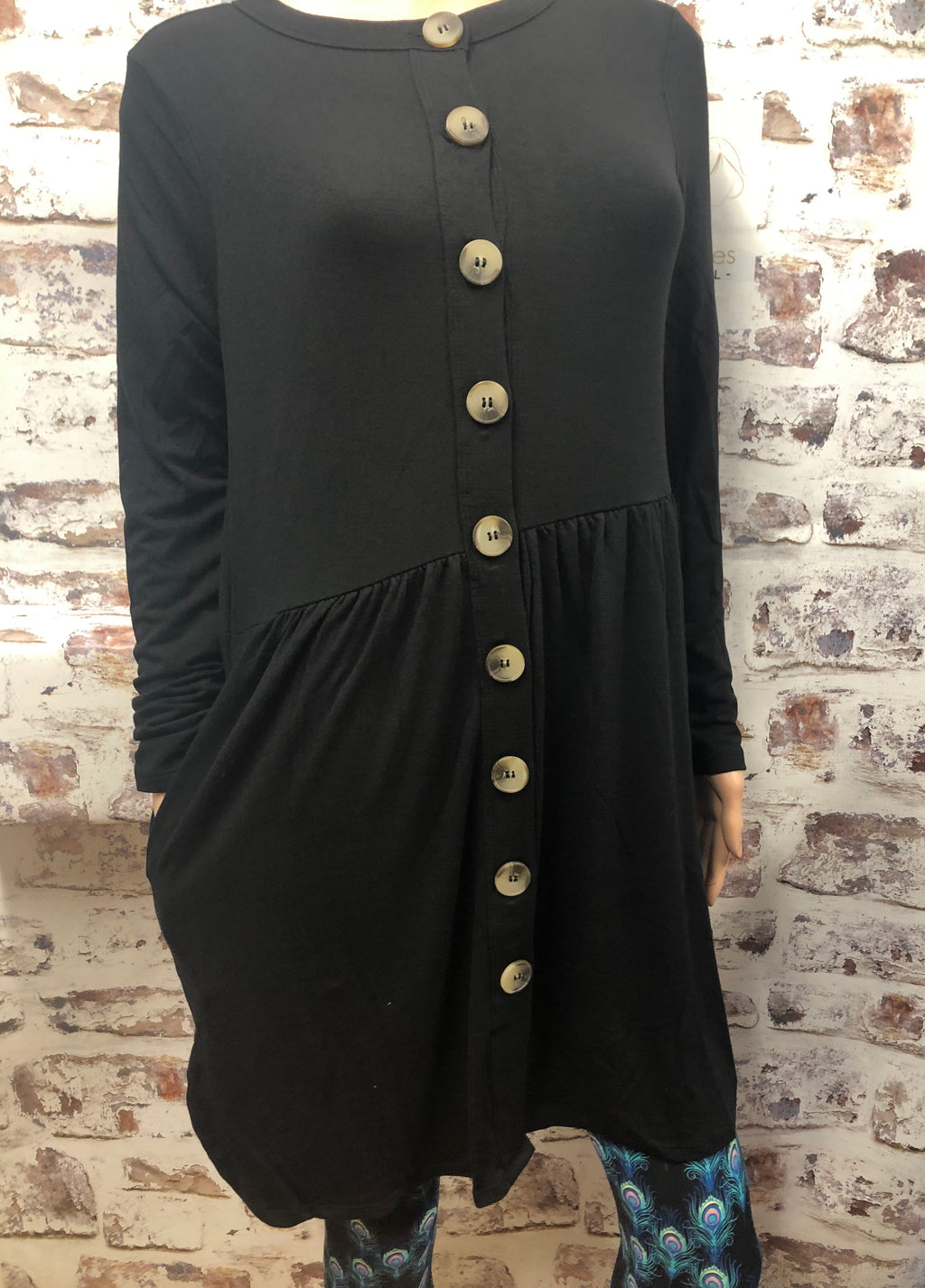 Plus Button up Gathered Black Cardigan