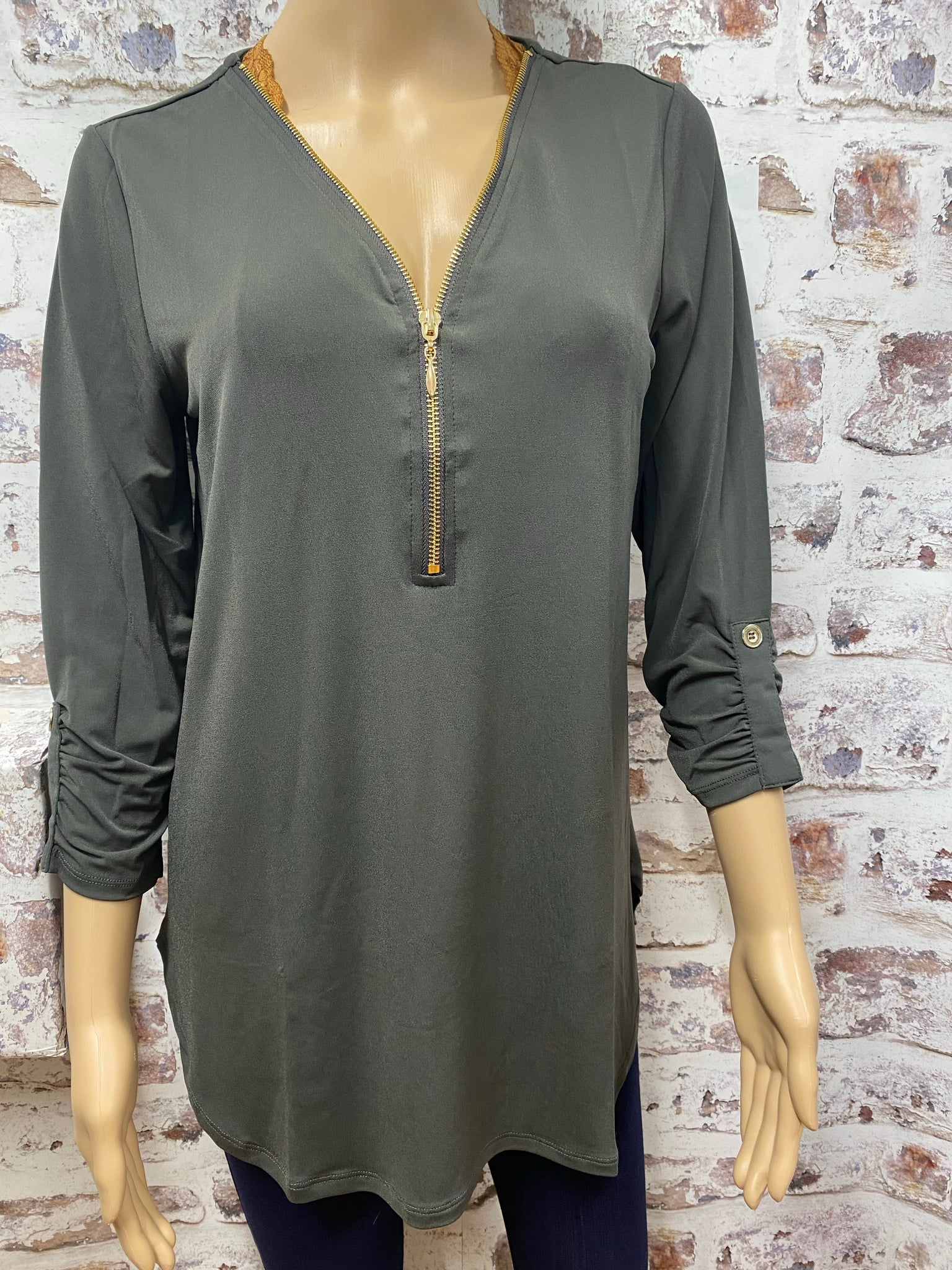 Charcoal 3/4 Sleeve Top with Zipper Accent