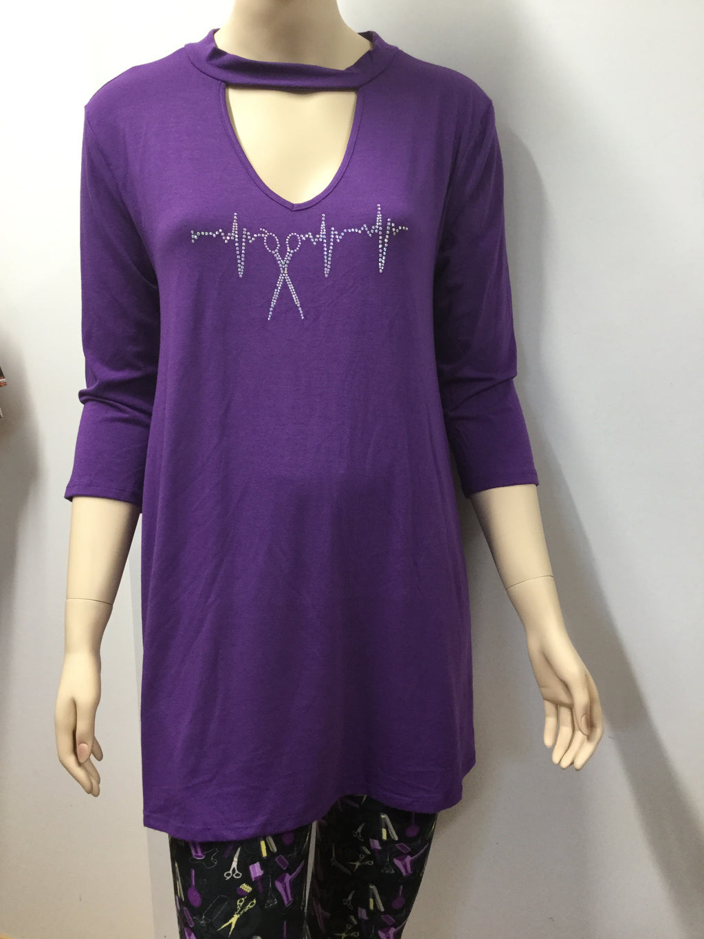 Purple Choker Style Tunic with Pockets and Iridescent Scissor Heartbeat Rhinestones