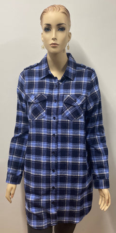 Flannel Button  Up Navy & Blue Top