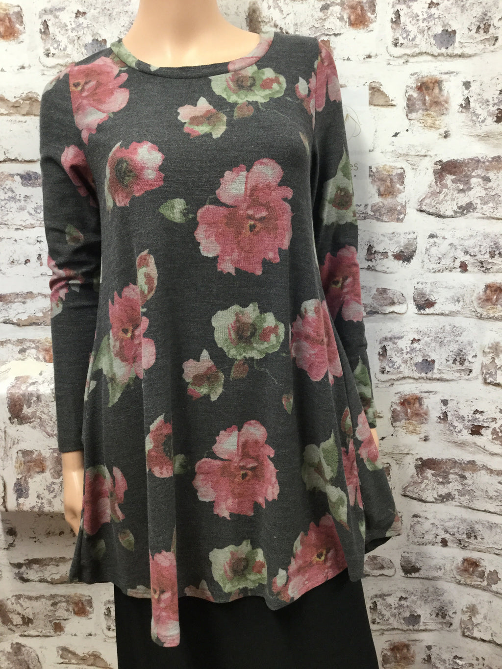 Dusty Charcoal Floral Dress Top with Pockets