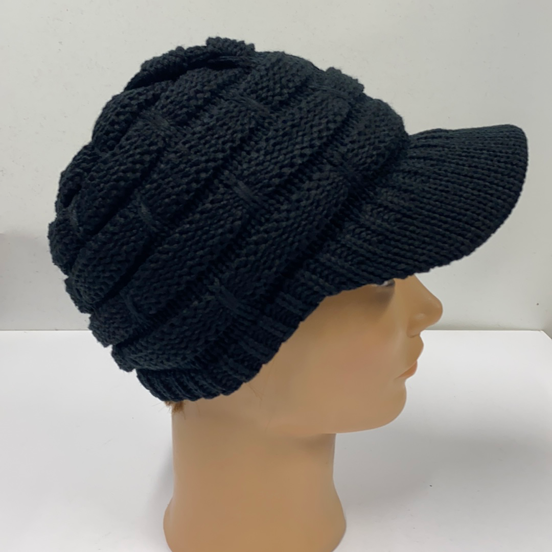 Black Knit Hat with Brim