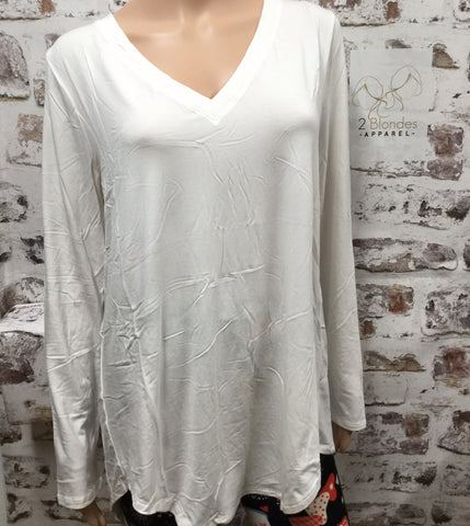 Extra PLus Long sleeve Ivory V Neck Top
