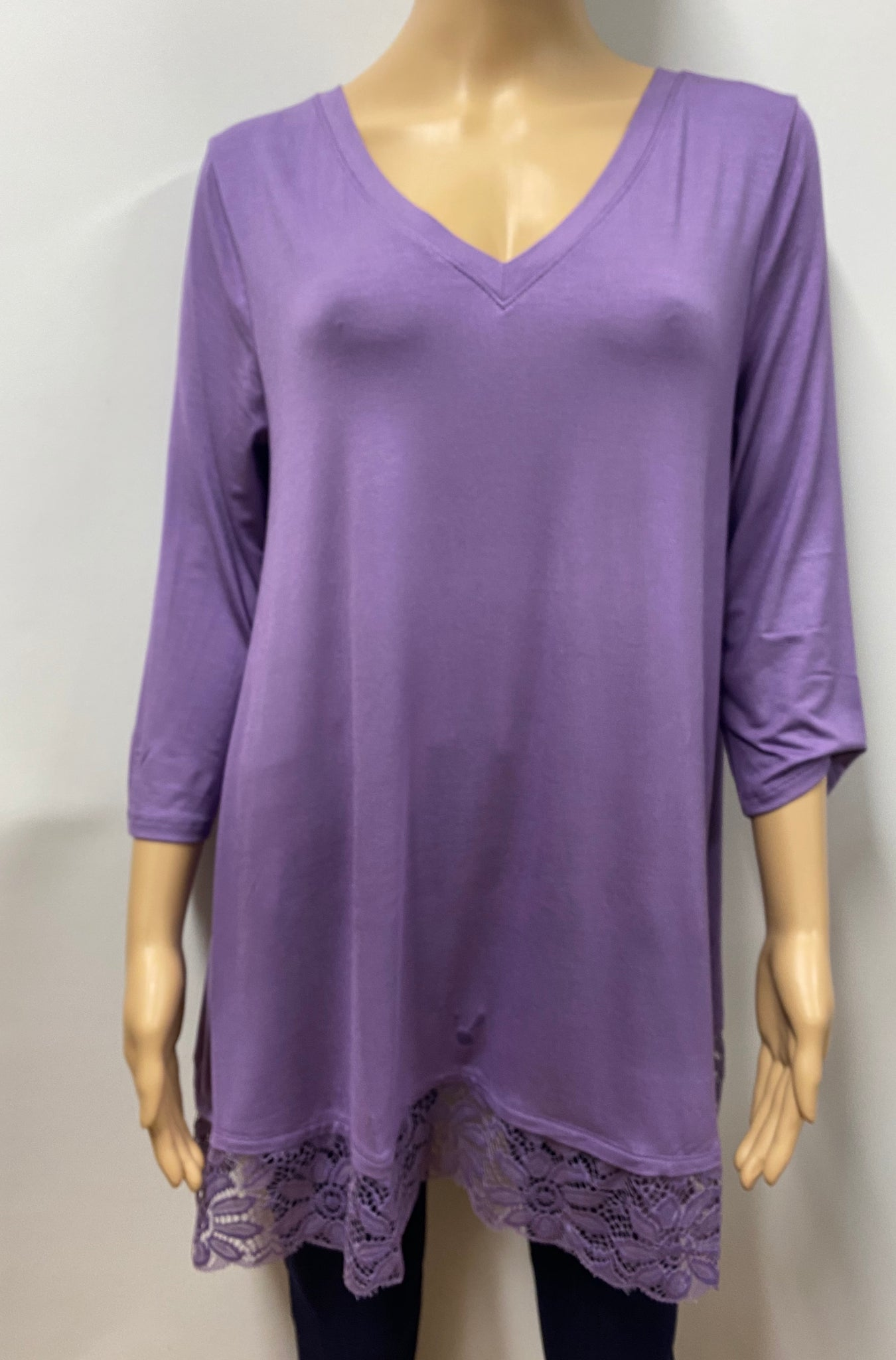 Lilac  3/4 Sleeve V-Neck Top with Lace Bottom Trim