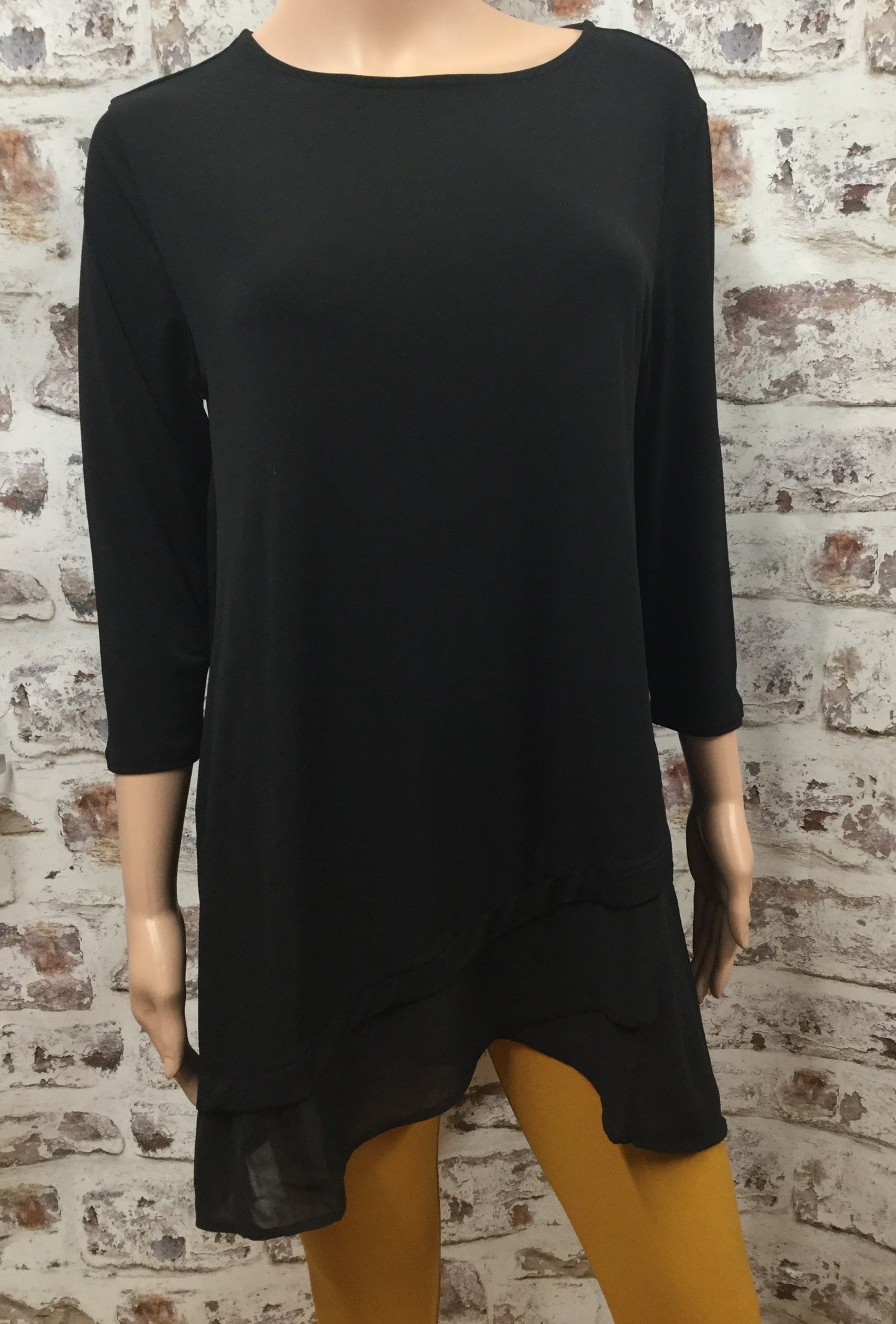 Plus Size Black Round Neck 3/4 Sleeve with Chiffon Overlap