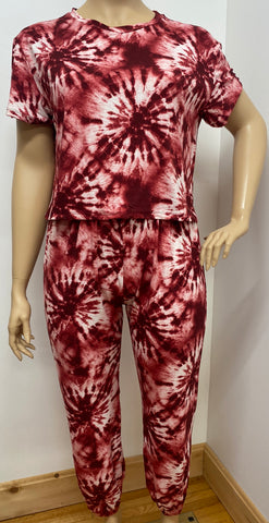 Plus Size Tie Dye Top and Pants Outfit