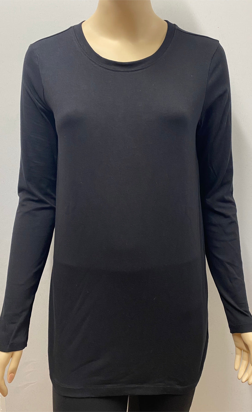 Long Sleeve Black Basic Cotton Top