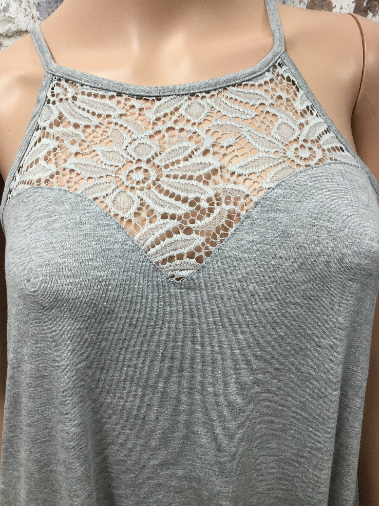 Heather Grey Lace Front Tank Top