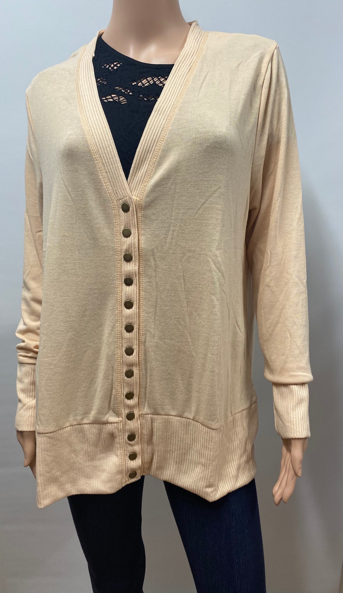 Plus Size  Button Sweater Cardigan with Ribbed Detail