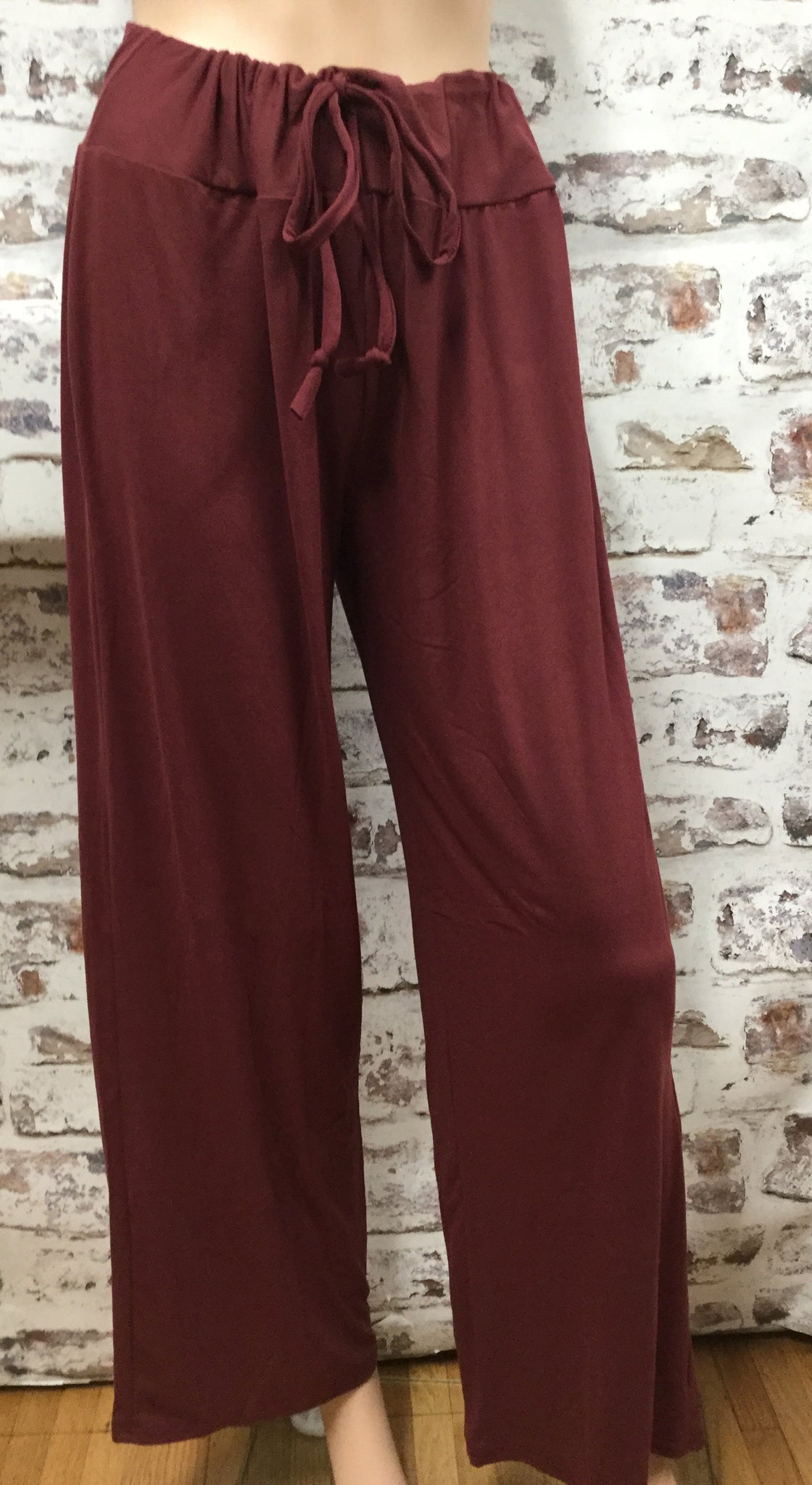 Draw String Solid Burgundy Pants
