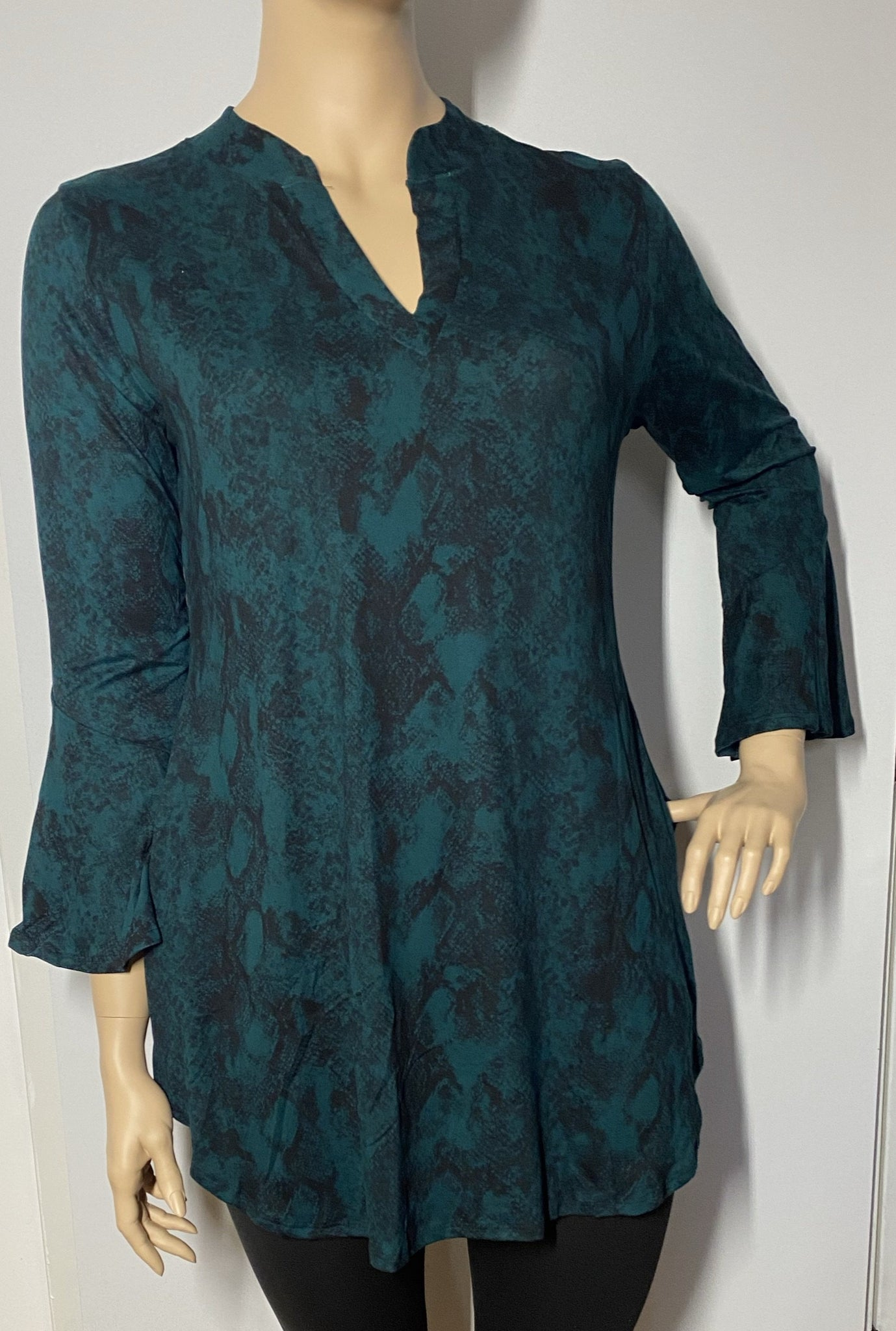 Plus Size Hunter Green Snakeskin Print Tunic with Bell Sleeve