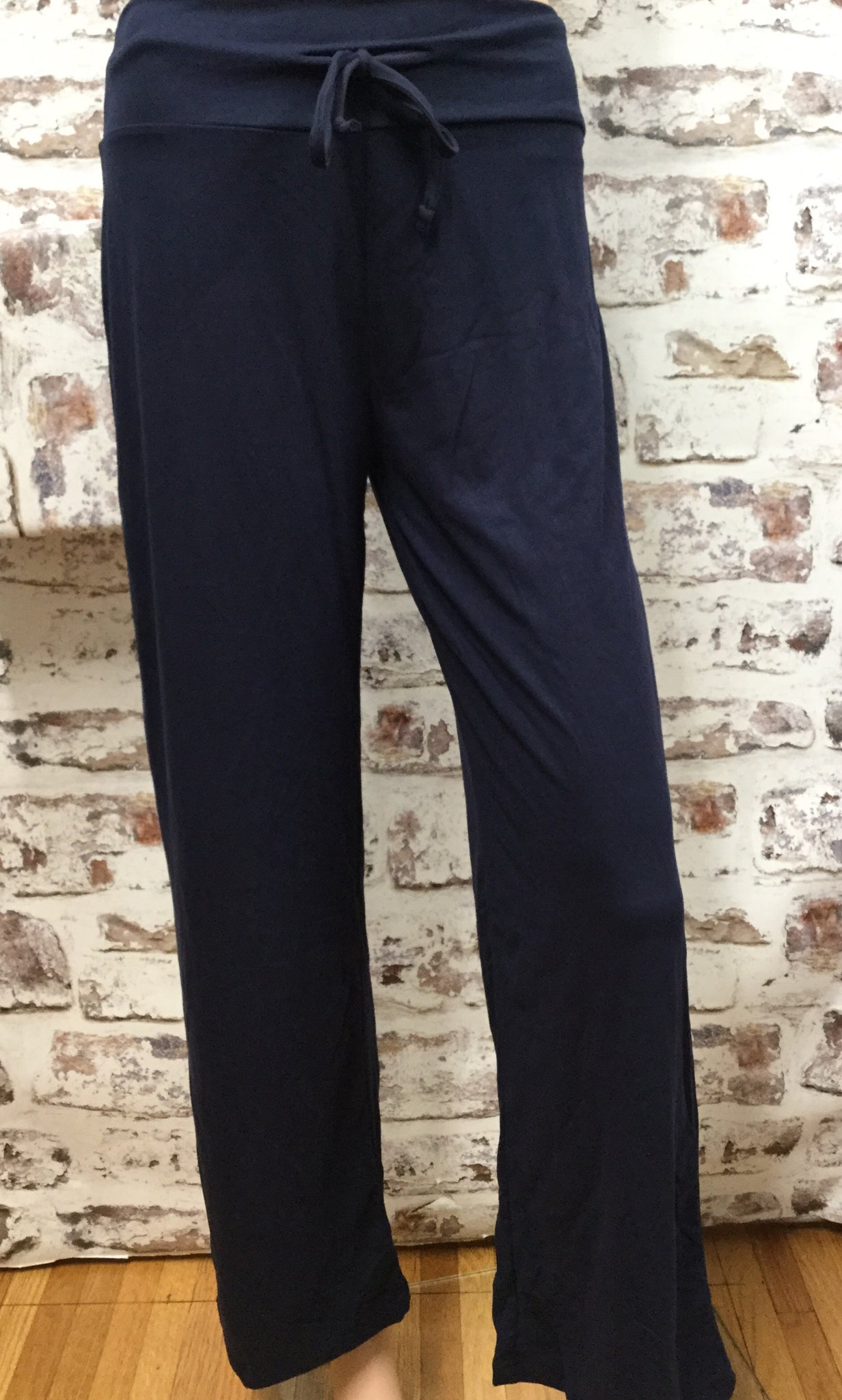 Draw String Solid Navy Pants