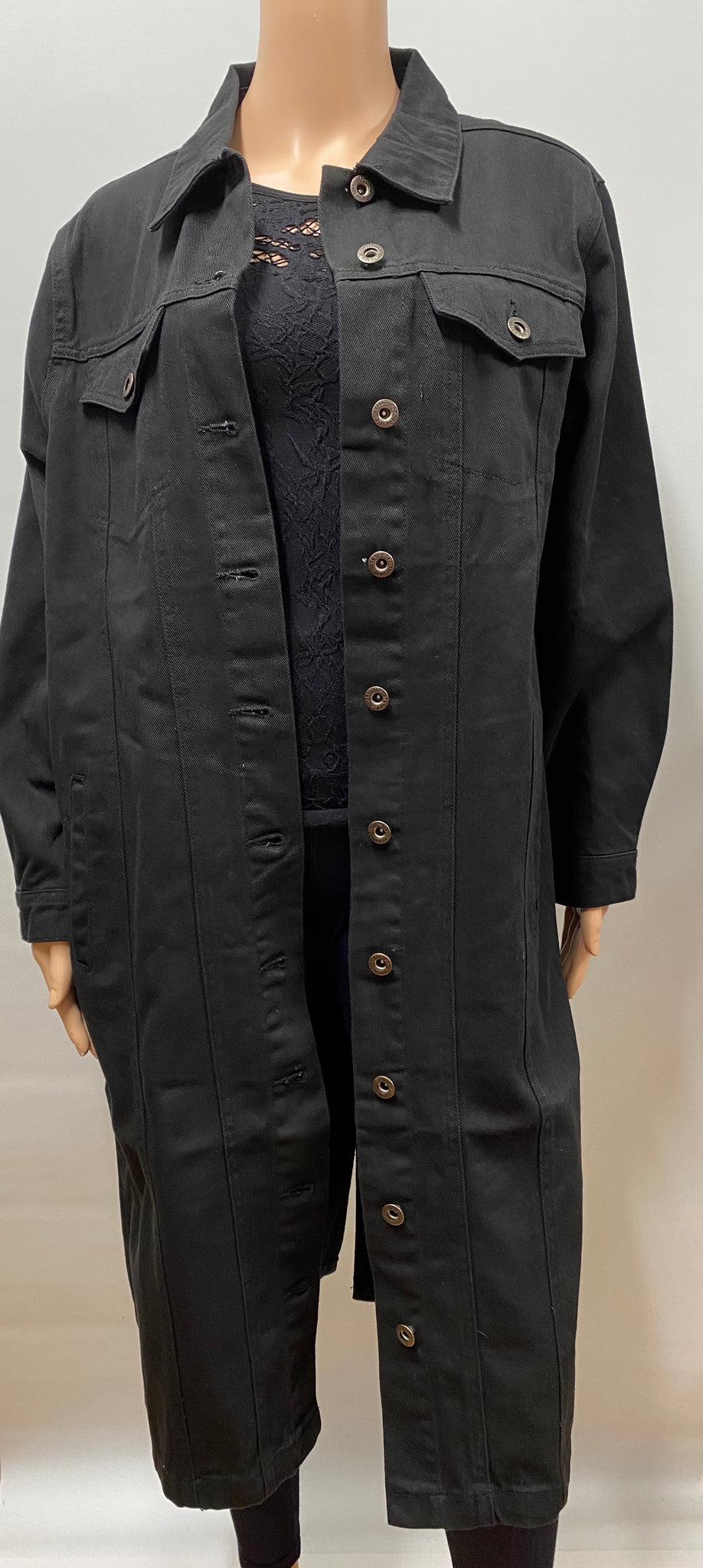 Long Black Denim Jacket