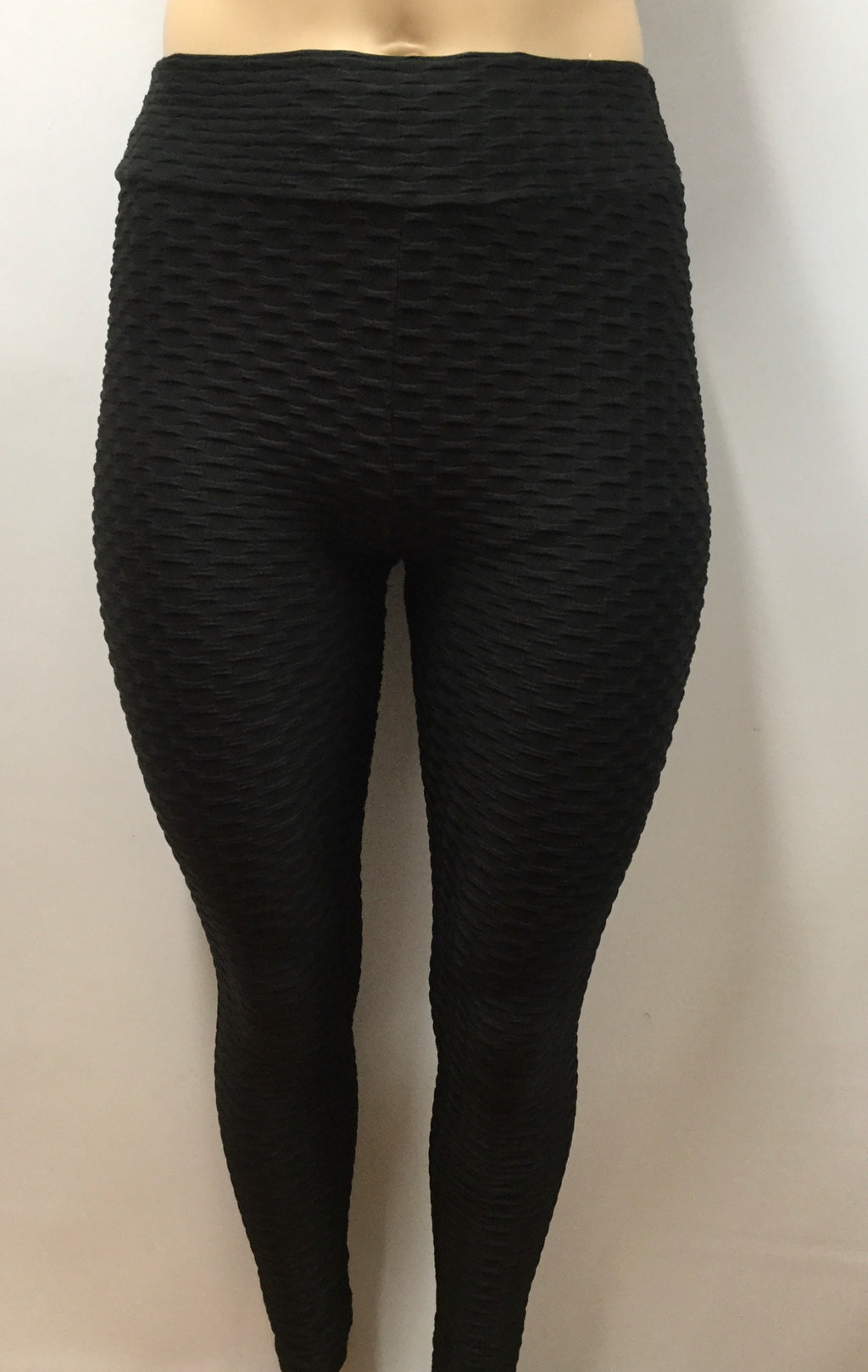 Extra Plus Textured Honeycomb Black Shaping Leggings