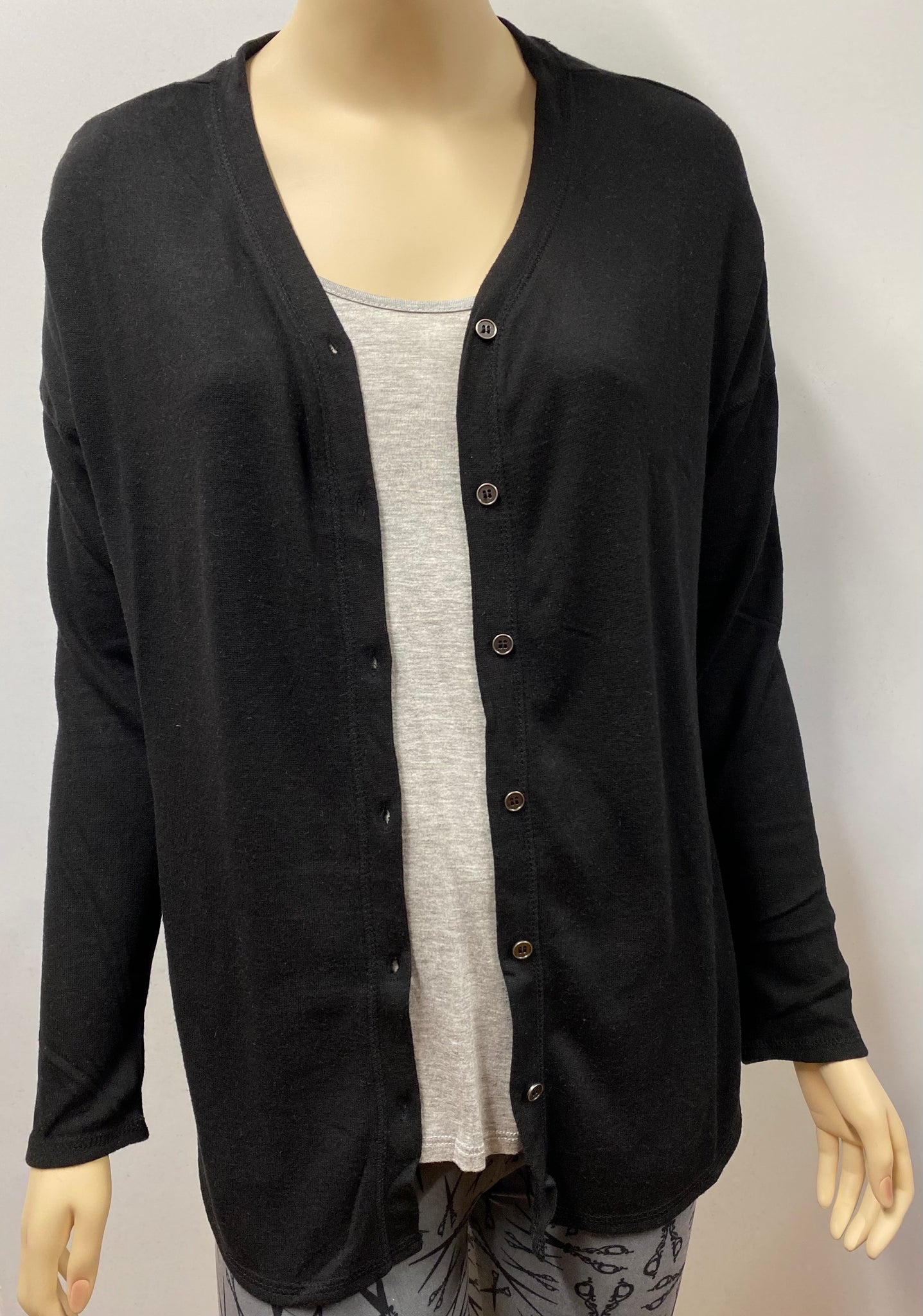 Black Long Sleeve V-Neck Button Down Hacci Cardigan