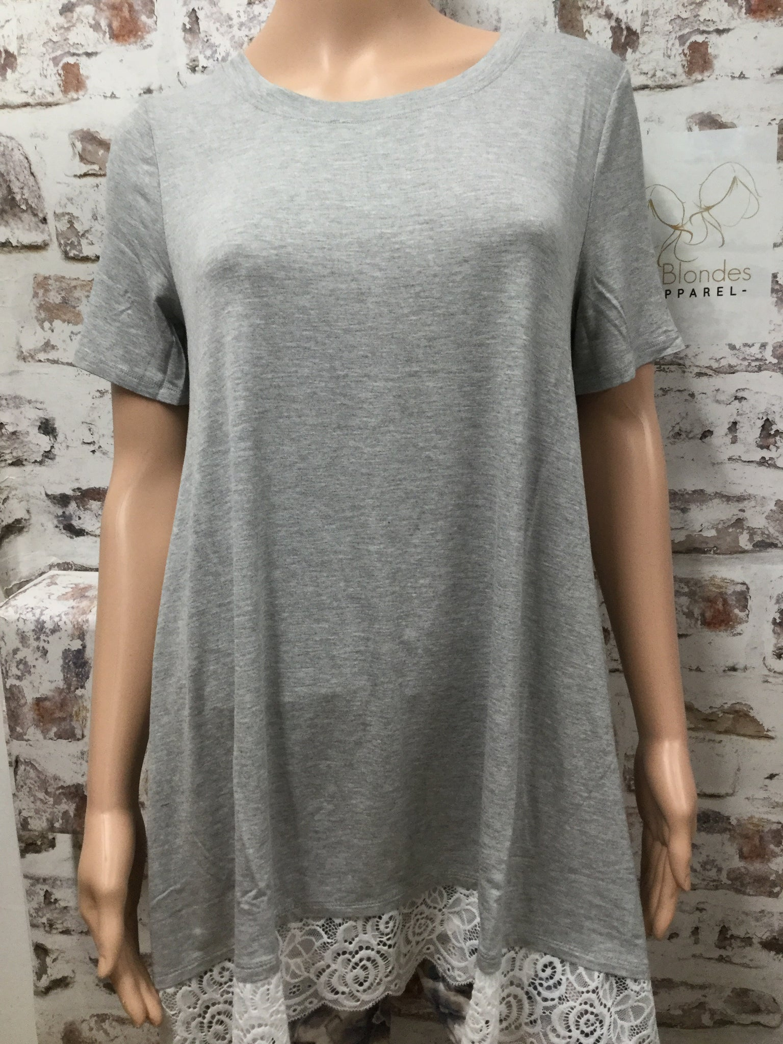 Heather Grey Short Sleeve  Lace Bottom Top