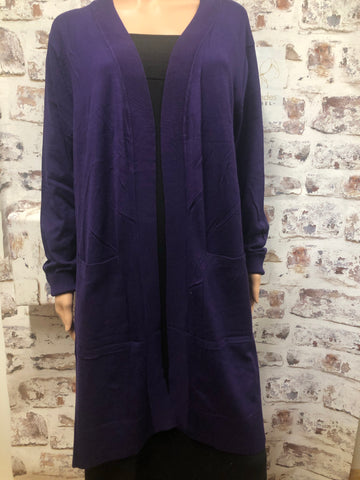 Plus Dark Purple Open Front Sweater Cardigan