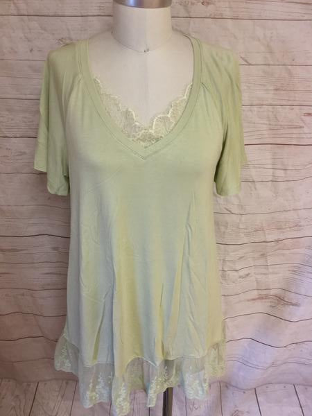 Lace Detailed Light Lime Tunic