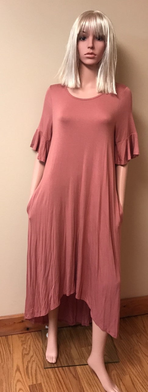 High Low Ruffled Sleeve Dress
