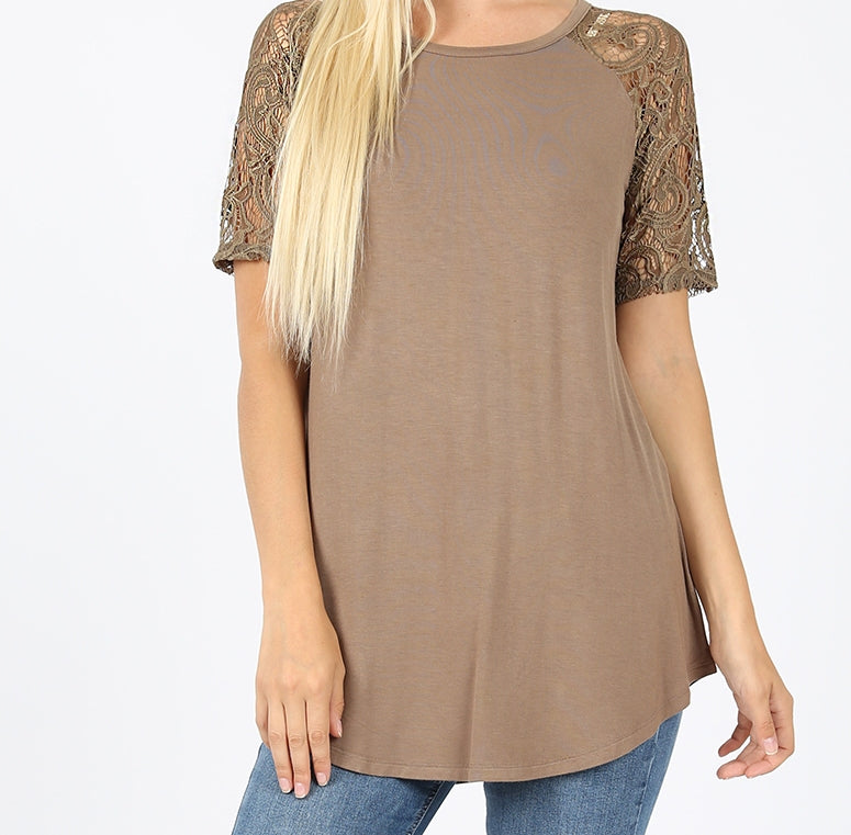 Lace Short Sleeve Top in Pack