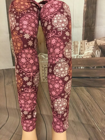 Snow Flake Ornament Print Leggings