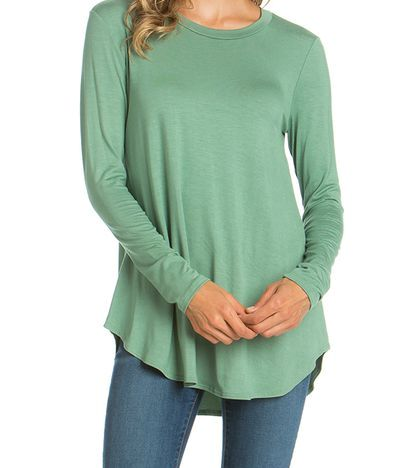 Long Sleeve Round Edge Sage Top
