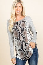 *Plus Baseball Style Snakeskin Top with Sequin Elbow