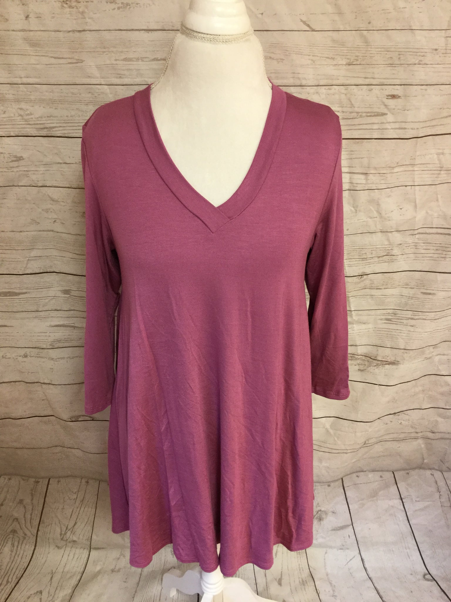 New Style V Neck 3/4 Sleeve  Dusty Mauve Tunic