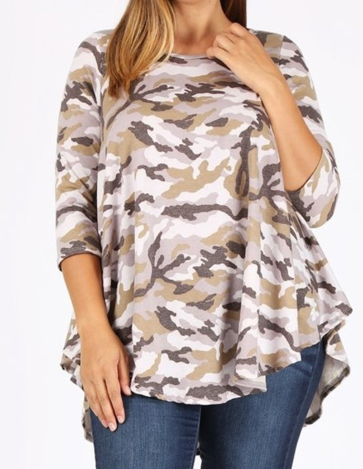 Plus Size 3/4 Sleeve Camouflage  Top