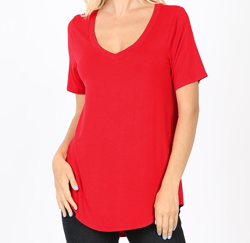 Classic Short Sleeve V Neck Top in  Packs