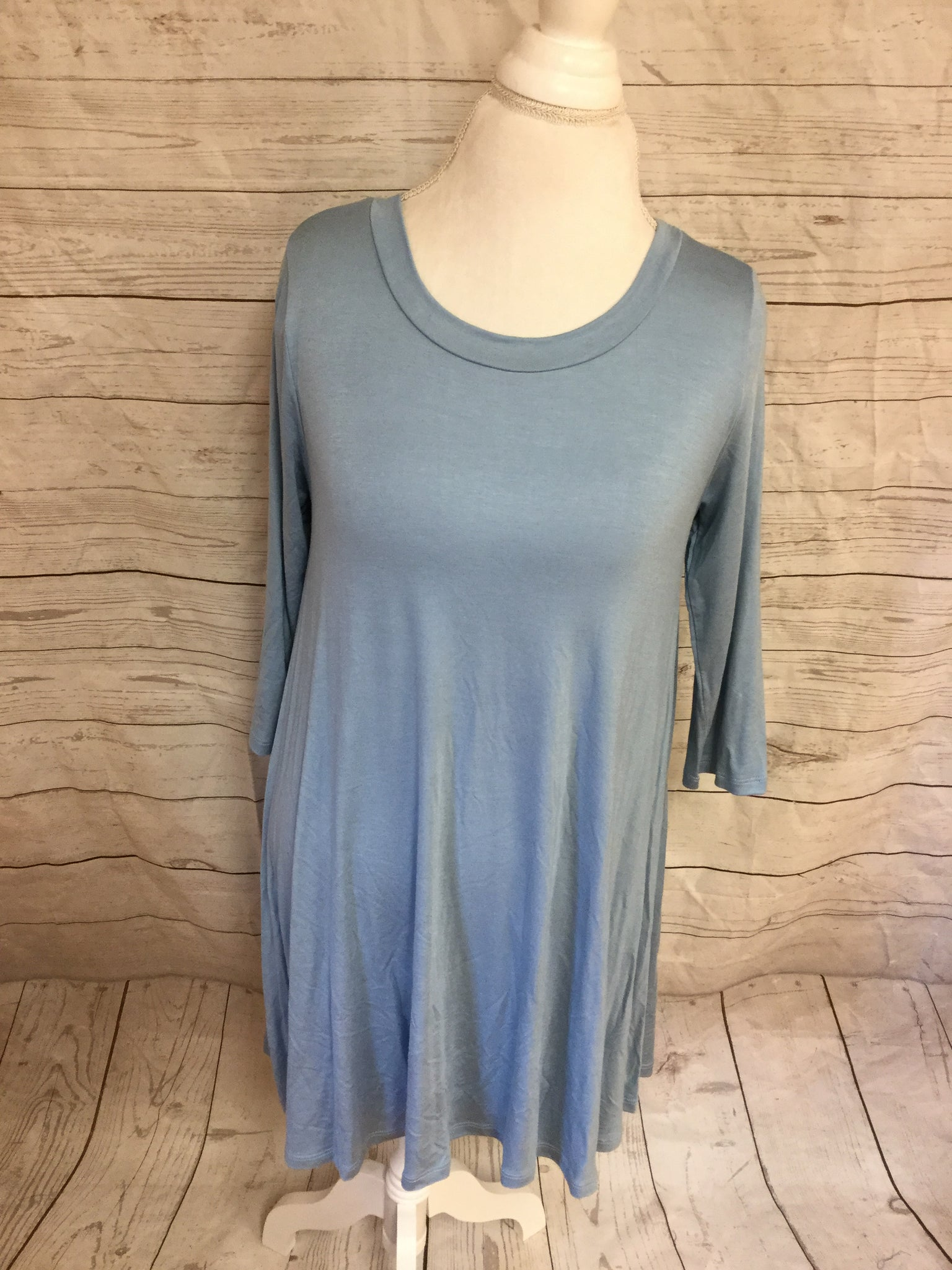 Blue A Line 3/4 Sleeve Over Sized Tunic