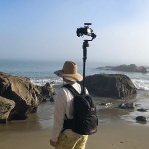 Camera and Gimbal on the Monopole Backpack