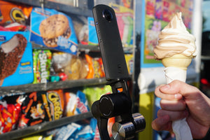 Snack time with Guru 360° Gimbal Stabilizer, made just for 360° Cameras like the Theta 360°!