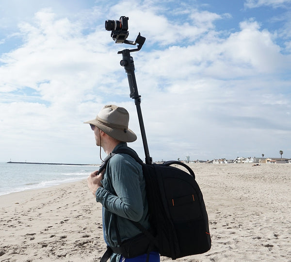 the Monopole Backpack with Insta360pro 2, MOZA Air 2, Sony A7SII, Action Camera, 360 Video.