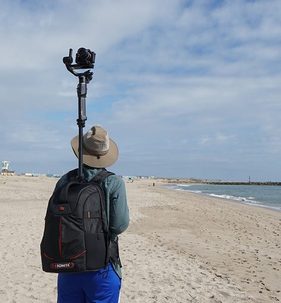 The Monopole Backpack pictured with the Insta360pro 2, 360 camera.