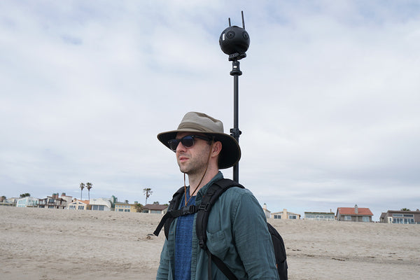 the Monopole Backpack with 360 Camera Insta360pro 2, Google Street View, Beach.