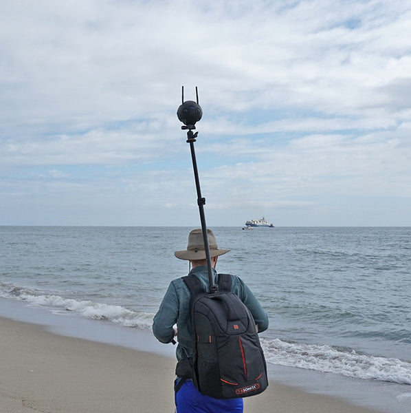 Pictured the Monopole Backpack with 360 Camera Insta360pro 2 Ocean Sea Google Street view beach day