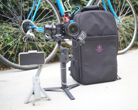 Pictured the MOZA Mini MX, Gimbal Bag, MOZA AirCross 2, MOZA iFocusM, Sony A6300, Mirfak Audio N2 Mini Shotgun Microphone, Miyata 512, Bicycle, Cycling.