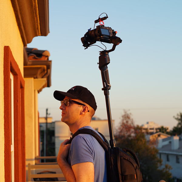 Pictured the Monopole Backpack with MOZA AirCross 2, MOZA iFocusM, Sony A6300, Mirfak Audio N2 Mini Shotgun Microphone, tiny planet, 360 camera, Real Estate Tour, Google Street View, Virtual Tour, 360 Video.