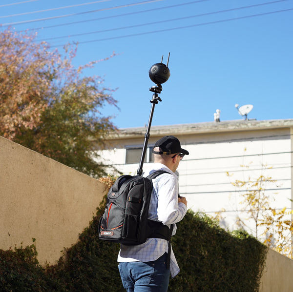 Pictured the Monopole Backpack, Insta360 One X, Insta360pro 2, Insta360 One X2, Insta360 One R, 360 Camera, 360 Tour, Google Street View, Virtual Tour, 360 Video, 360 View, Film 360, 360 Photo, 360 Photography, Aerial Photography, Tiny Planet, Little Planet, Flow State, Urban 360, Virtual Visit, Urban 360.