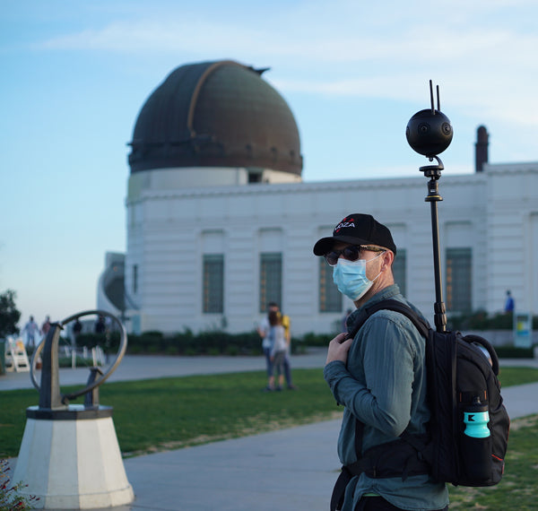 Pictured the Monopole Backpack, Insta360 One X, Insta360pro 2, Insta360 One X2, Insta360 One R, 360 Camera, 360 Tour, Google Street View, Virtual Tour, 360 Video, 360 View, Film 360, 360 Photo, 360 Photography, Aerial Photography, Tiny Planet, Little Planet, Flow State, Virtual Visit, Griffith Observatory.