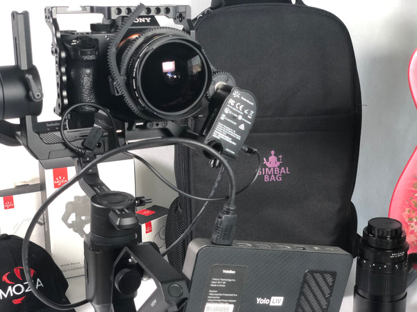Gimbal Bag, MOZA Air 2, MOZA iFocusM, MOZA Mini MX, Sony A7SII, YoloBox Live Streaming, Canon FD 15mm, Nitze Camera Cage.