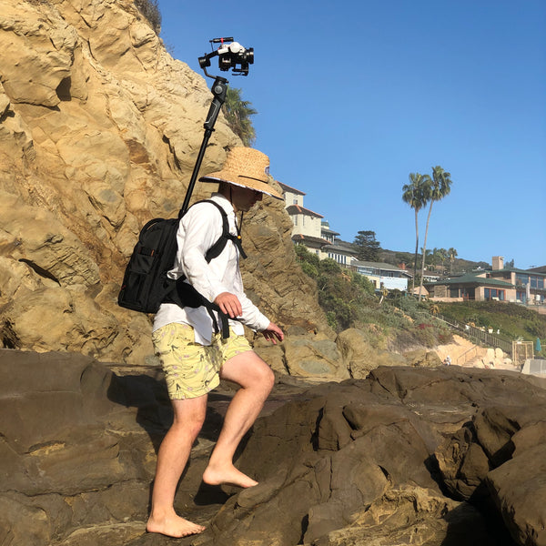 Pictured the Monopole Backpack, MOZA AirCross 2, MOZA iFocusM, Sony A6300, Mirfak Audio, N2 Mini Shotgun Microphone, Insta360 One X, Insta360pro 2, Insta360 One X2, Insta360 One R, 360 Camera, 360 Tour, Google Street View, Virtual Tour, 360 Video, 360 View, Film 360, 360 Photo, 360 Photography, Aerial Photography, Tiny Planet, Little Planet, Flow State, Virtual Visit, Beach, Tide Pool, Ocean.