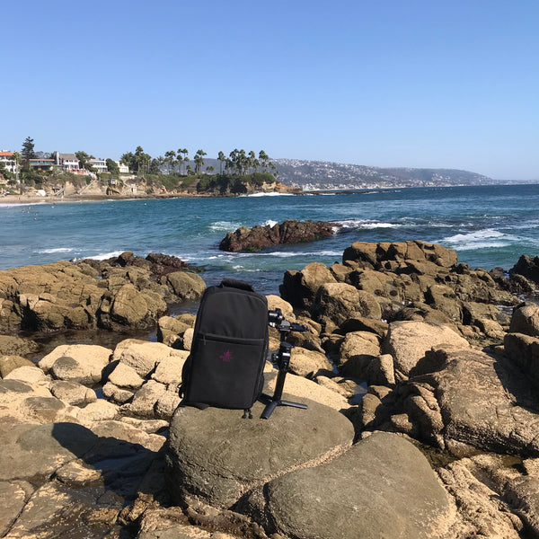 The Gimbal Bag pictured with MOZA AirCross 2, Day at the Beach, Cove, Tide Pool.