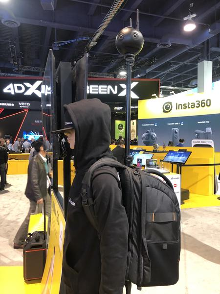 the Monopole Backpack with Insta360pro 2, Tiny Planet, Google Street View, Virtual Tour, Action Camera, 360 Video. CES