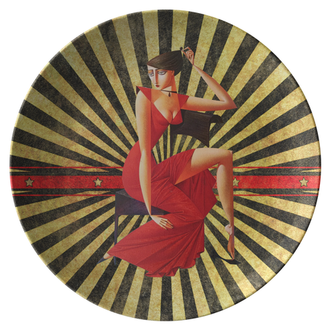 Lady in Red Sexy Designer Plate