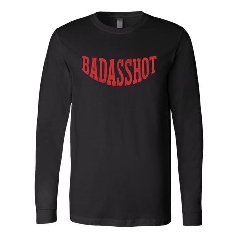 """Badasshot""  Mens Long Sleeve Tee/Rib Cuff"