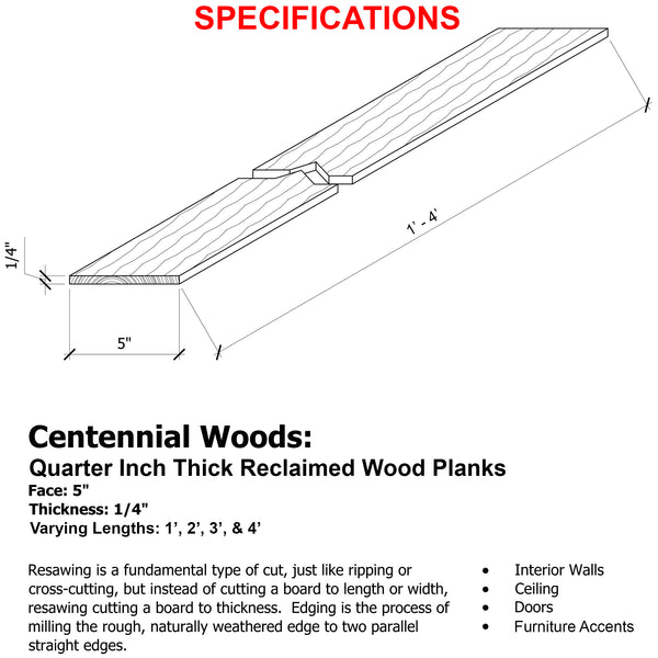 Specifications for 5 inch wide reclaimed wood planks.