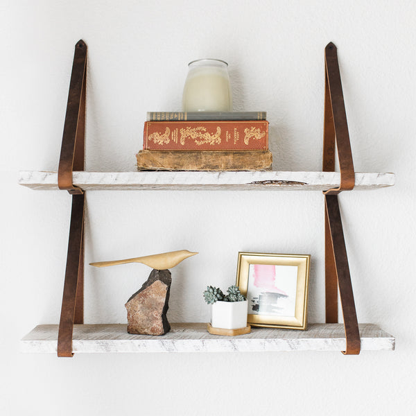 Hanging Lake Shelves made from Centennial Woods' reclaimed wood and straps from Range Leather in Laramie, Wyoming.